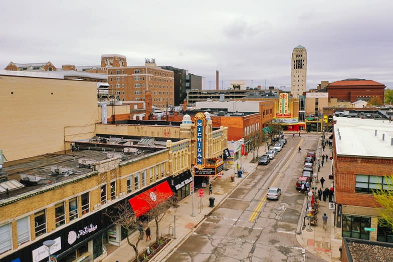 Aerial View Of Downtown Ann Arbor Michigan