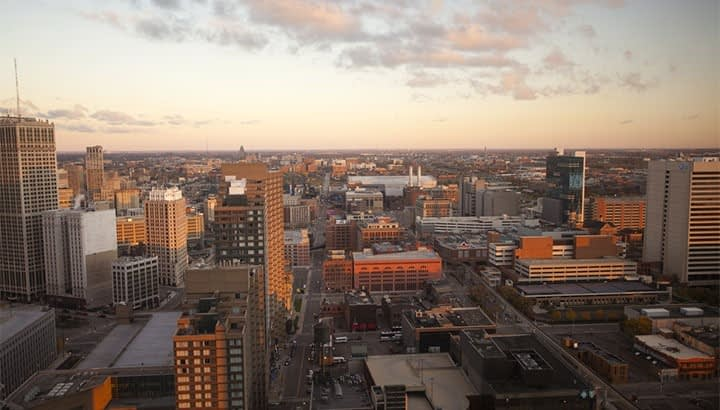 A view of downtown Detroit, Michigan at sunrise.