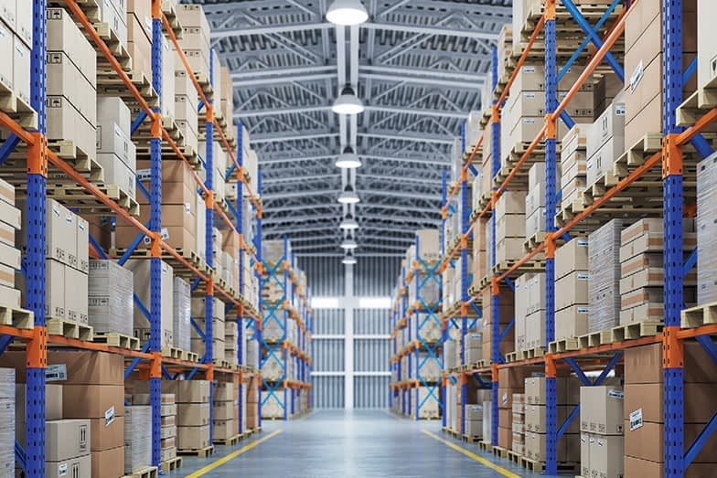 Warehouse or storage and shelves with cardboard boxes. Industrial background. 3d illustration