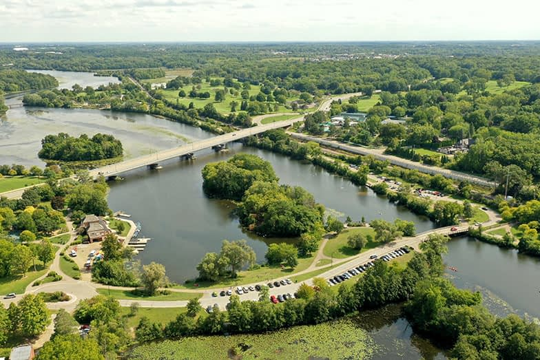 Aerial View Of Gallup Park And Ann Arbor, Michigan