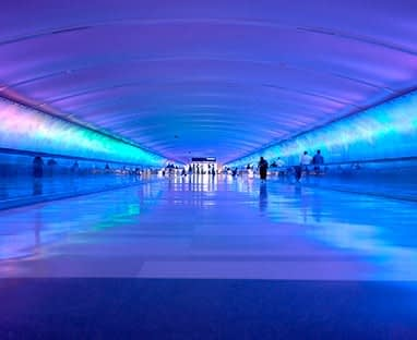 Airport tunnel that glows in Detroit Metro International Airport.