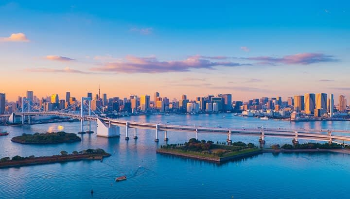 Tokyo City business area view from Odaiba district