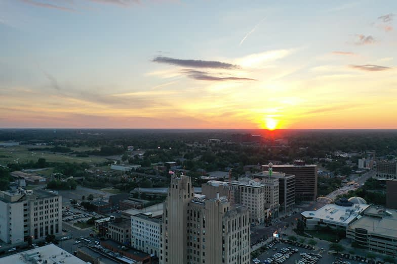 Sunset capturing the City of Flint to the NW
