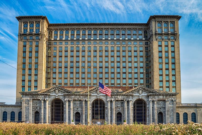Michigan Central Railway Station in Detroit, USA